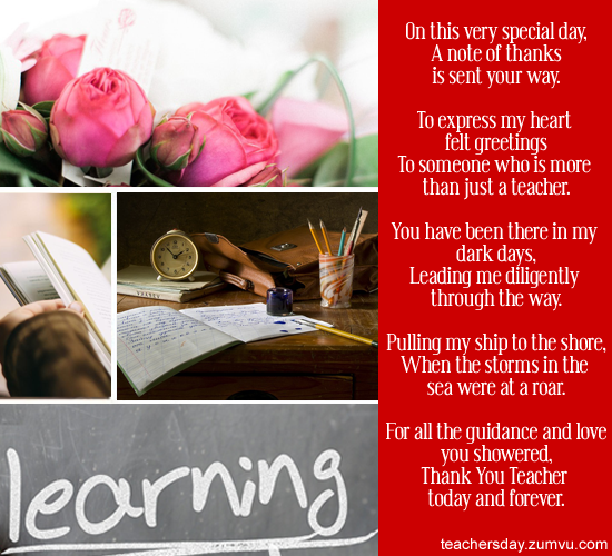 Teachers day messages teachers day sms greetings poems on this very special day a note of thanks is sent your way m4hsunfo